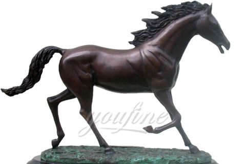 Bronze Horse Statue on Marble Base