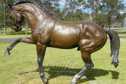 Garden cast large bronze horse sculptures