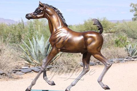 Outdoor garden cast antique bronze horses