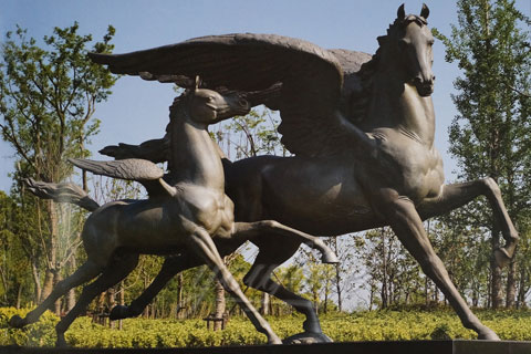 Outdoor Life Size Bronze Wing Horse Statues for Sale