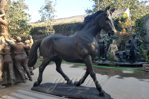 Factory life size bronze black standing horse sculptures for sale