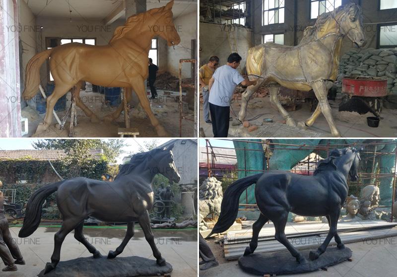standing bronze black horse statue