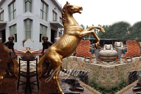 Outdoor Large Bronze jumping horse statue