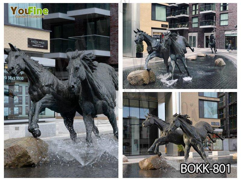 Outdoor Pair of Full Size Bronze Black Horse Sculpture