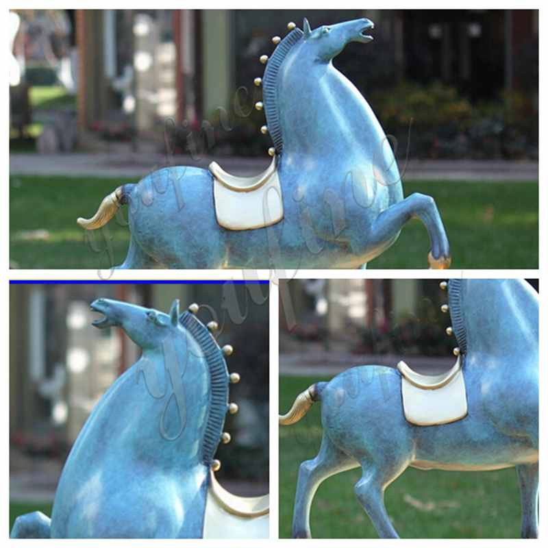 Life Size Bronze Chinese Tang Standing Horse Statue