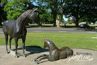 Mare and Foal Bronze Statues Park Decor